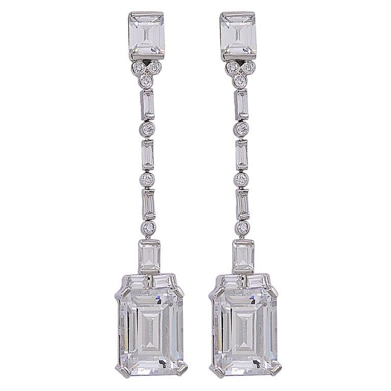 Chic Faux Emerald Cut Diamond Drop Earrings For