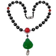 Onyx Jadequartz CZ Buddha Pendant Necklace