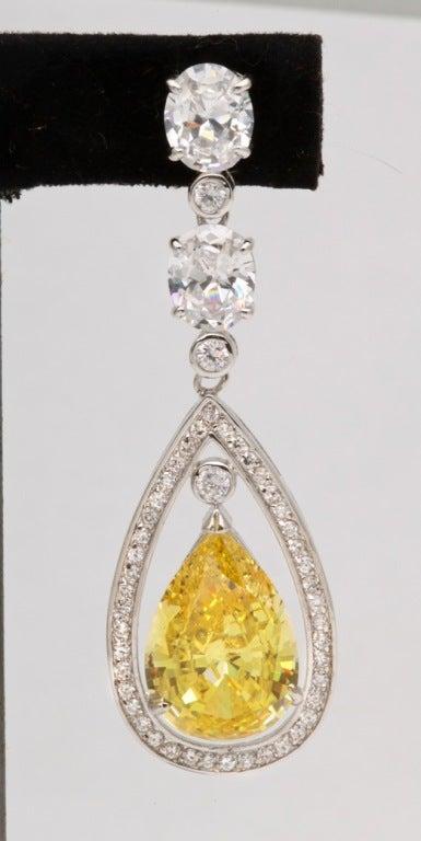 Stunning Faux Canary Yellow Diamond Earrings 2