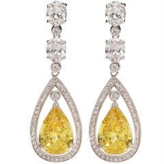 Stunning Faux Canary Yellow Diamond Earrings