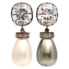 Antique Cut CZ Black and White Pearl Drop Earclips