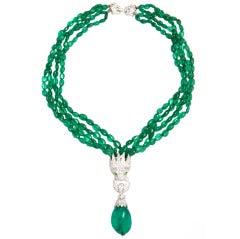 Faux Emerald Pave CZ Lion Head Pendant Necklace