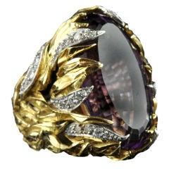 Andrew Grima Stunning Amethyst Diamond Gold Ring