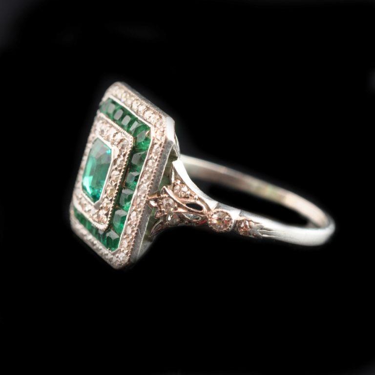 edwardian emerald platinum ring at 1stdibs