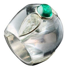 BELPERRON Bombé design rock crystal, emerald & diamond ring