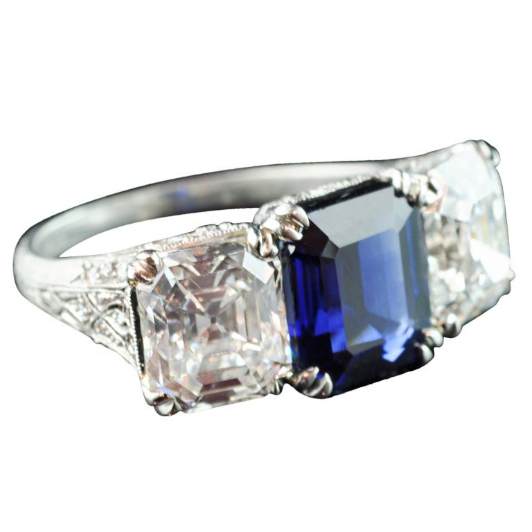 TIFFANY Magnificent Sapphire and Diamond Three Stone Ring at 1stdibs