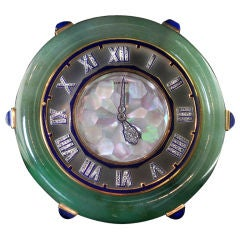 CARTIER Spectacular Art Deco Jade Diamond Set Clock
