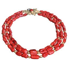 ANDREW GRIMA Three Strand Coral & Gold Necklace