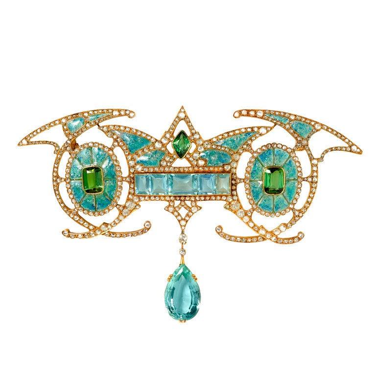 FOUQUET Gold, Aquamarine, Diamond & Enamel Brooch