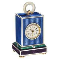 CARTIER Silver, Agate, Sapphire and Enamel Cube Clock with Alarm