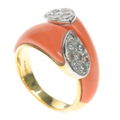 CARTIER Gold, Coral & Diamond Ring