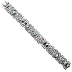Art Deco Diamond Emerald Platinum Bracelet