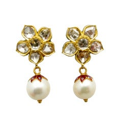 Mughal Style Diamond, Pearl, Enamel and Gold Earrings
