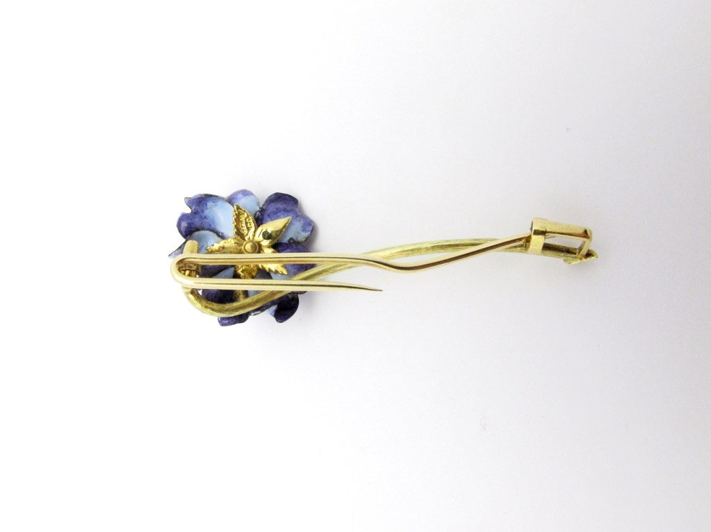 Tiffany & Co. Enamel Diamond Flower Brooch In Excellent Condition For Sale In Santa Fe, NM