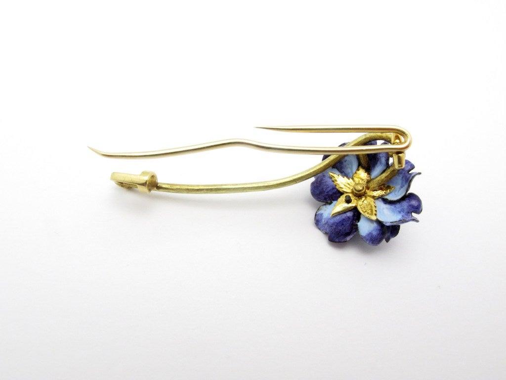 Women's Tiffany & Co. Enamel Diamond Flower Brooch For Sale