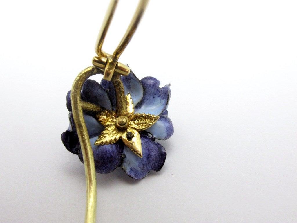Tiffany & Co. Enamel Diamond Flower Brooch For Sale 1