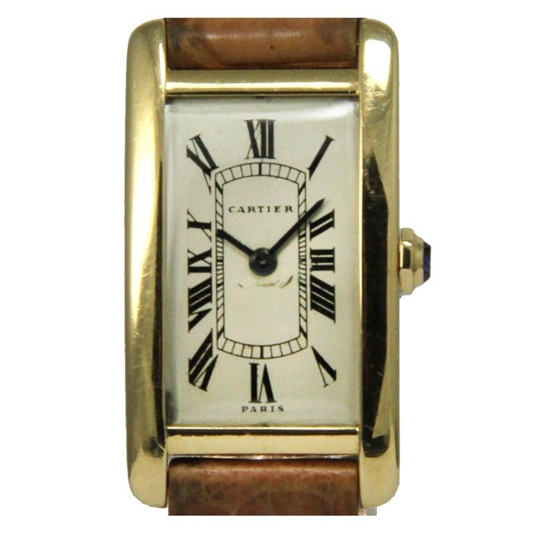 Cartier Yellow Gold Tank Americaine Wristwatch at 1stdibs