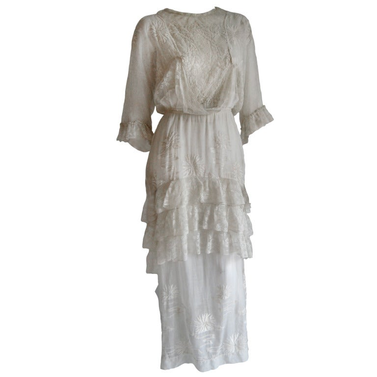 French Edwardian Embroidered Dress 1
