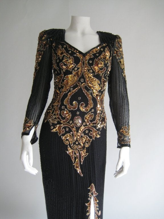 1980s Oleg Cassini Beaded Sequin Evening Dress 2
