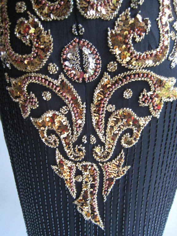 1980s Oleg Cassini Beaded Sequin Evening Dress 3