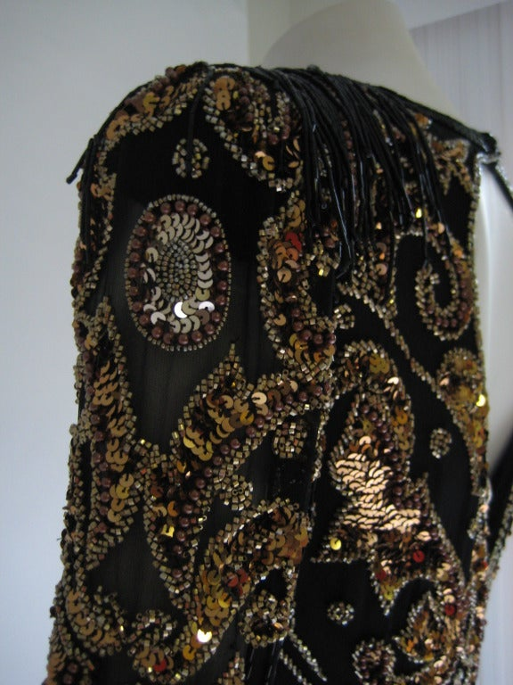 1980s Oleg Cassini Beaded Sequin Evening Dress 4