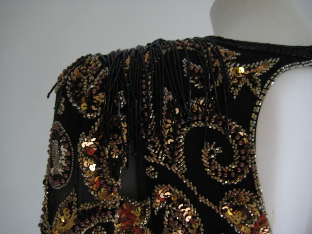 1980s Oleg Cassini Beaded Sequin Evening Dress 5