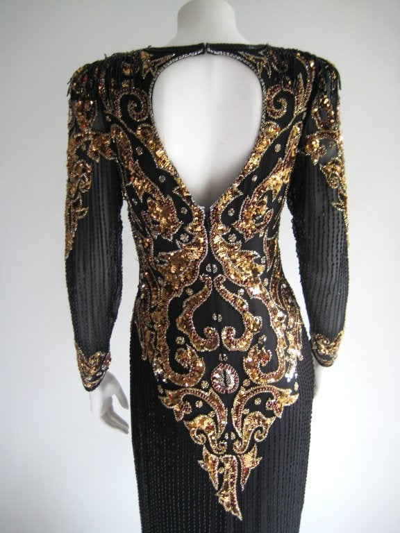 1980s Oleg Cassini Beaded Sequin Evening Dress 7
