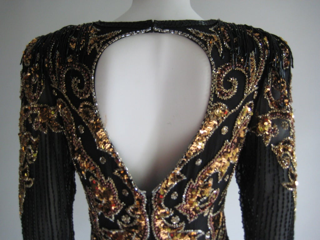 1980s Oleg Cassini Beaded Sequin Evening Dress 8