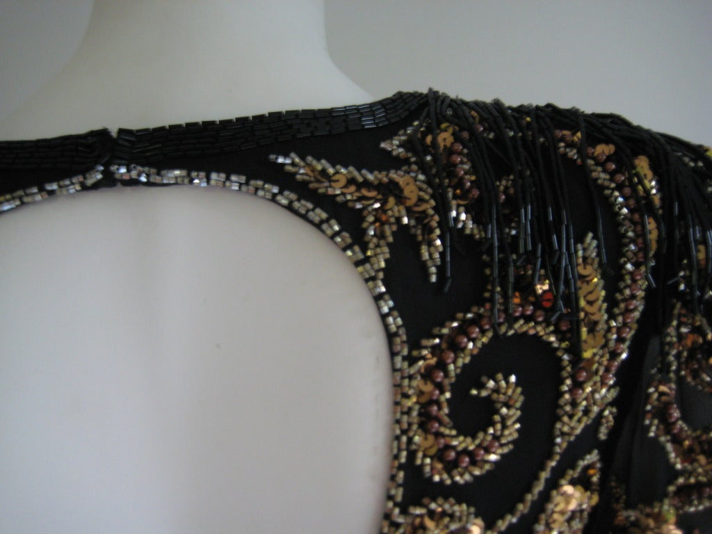 1980s Oleg Cassini Beaded Sequin Evening Dress 9
