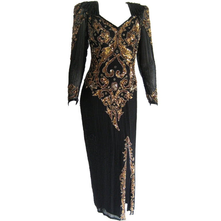 1980s Oleg Cassini Beaded Sequin Evening Dress 1