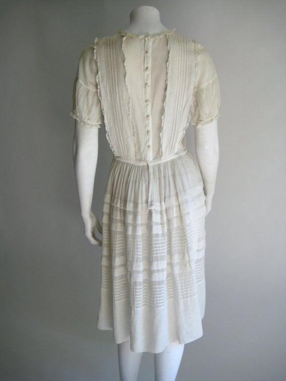 1920s Silk Linen Dress For Sale 1