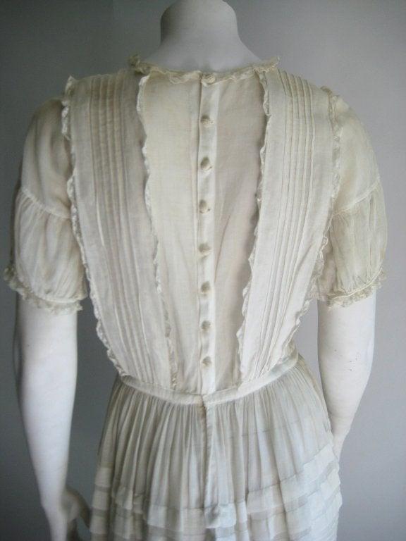 1920s Silk Linen Dress For Sale 2