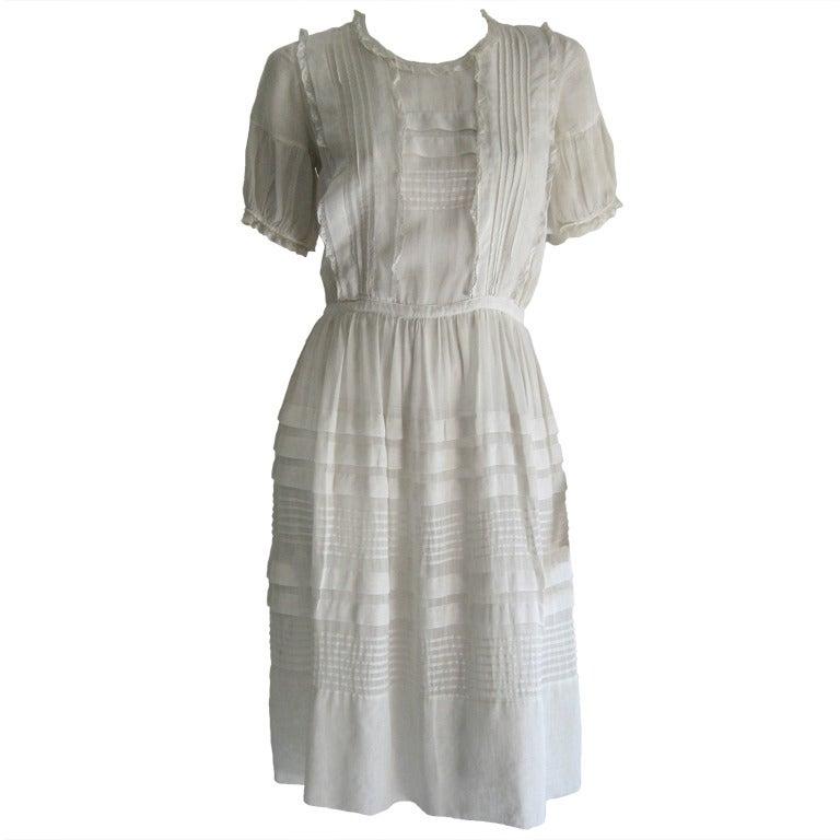 1920s Silk Linen Dress For Sale