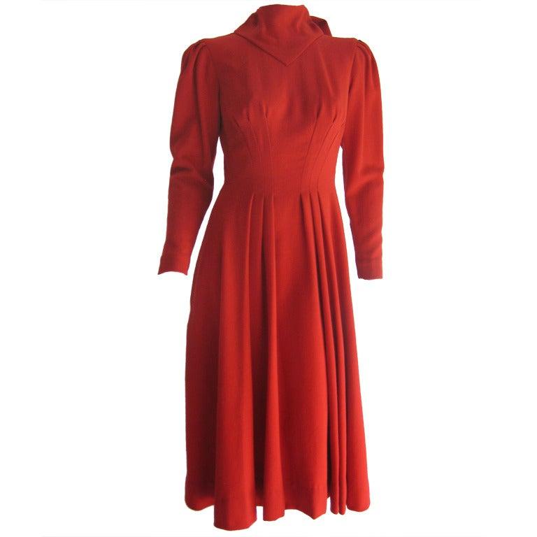 Pauline Trigere Red Wool Crepe Dress