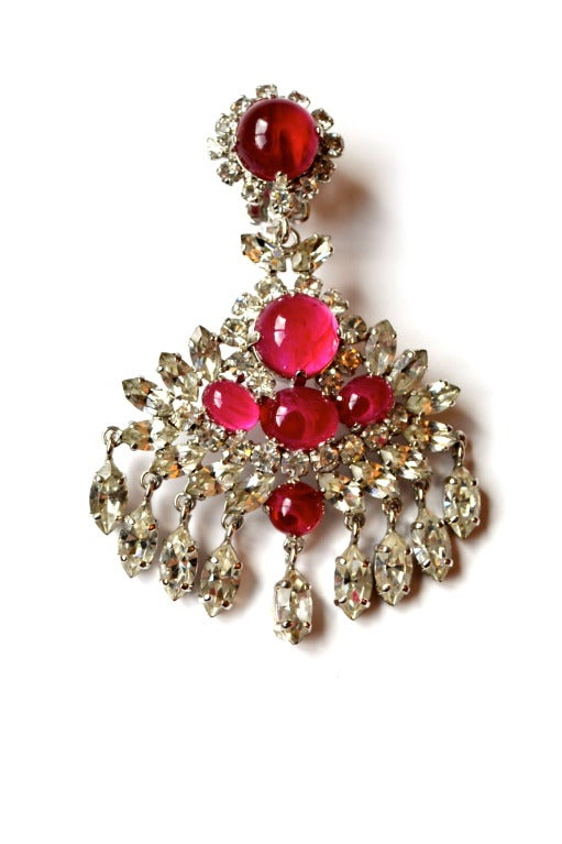 1970 Christian Dior Haute Couture Chandelier Earrings For