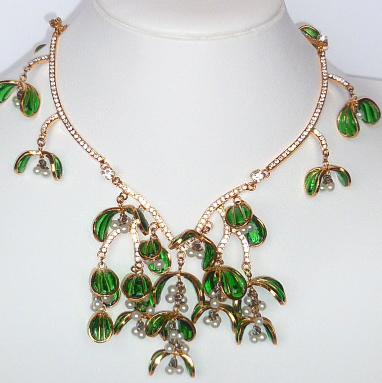 """Exceptional and pristine Nina Ricci Haute Couture """"Mistletoe"""" necklace, made by the Gripoix glassworks for Ricci's Winter 1986 collection. Inspired by the Belle Epoch jewels of Rene Lalique, this magnificent necklace is testament to the long"""