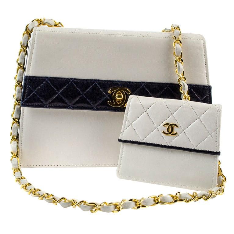 Chanel White Navy Color Block Bag At 1stdibs