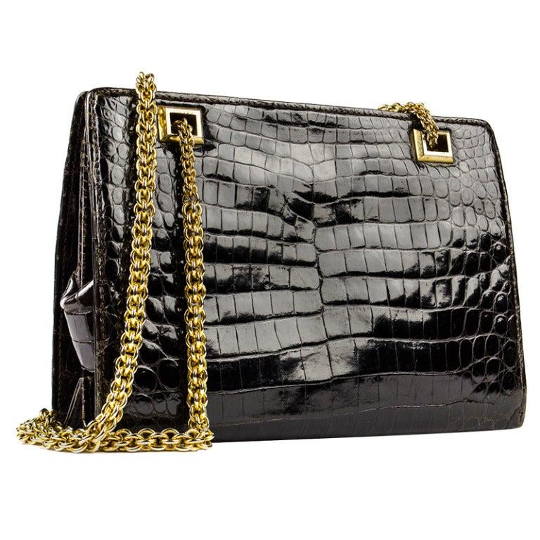 Vintage Gucci Crocodile Shoulder Bag At 1stdibs