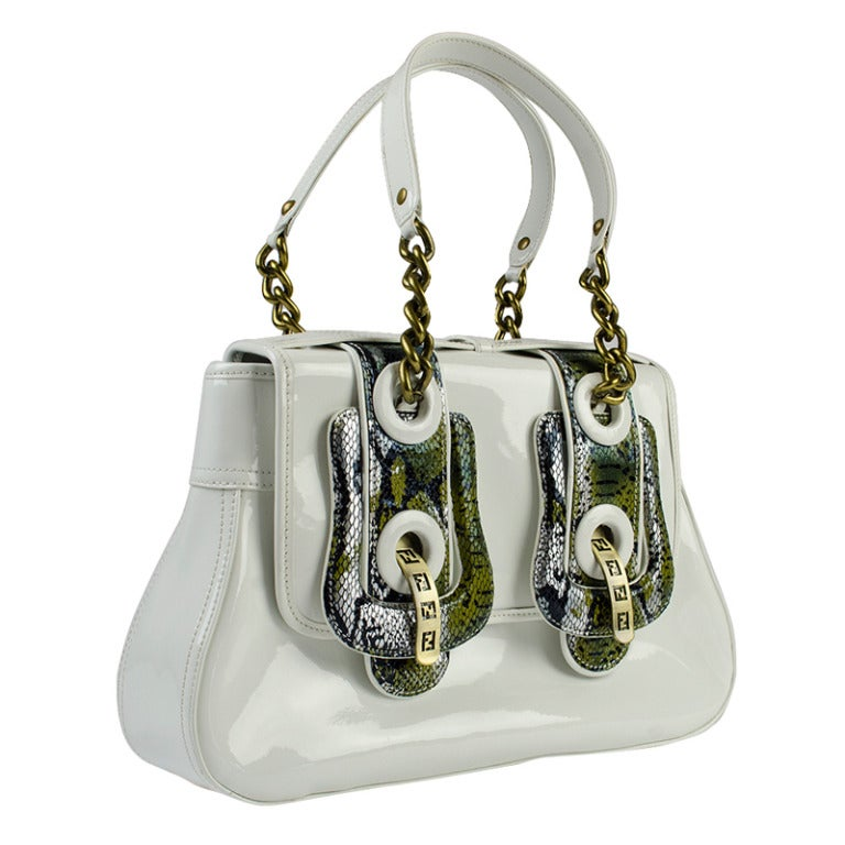 Fendi White Patent And Snakeskin Buckle Bag At 1stdibs