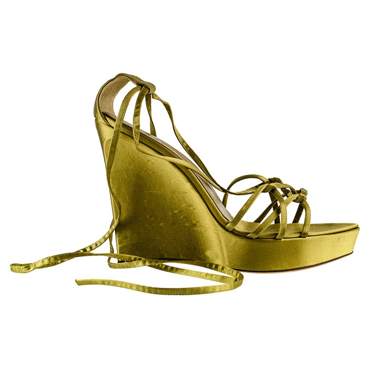 yves laurent tie up satin wedges at 1stdibs