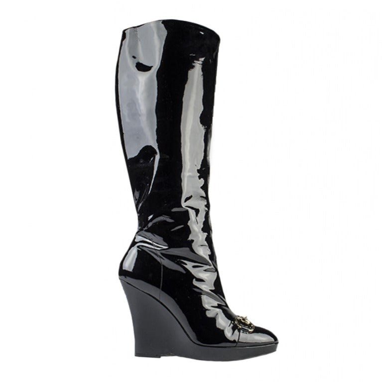 gucci black patent leather wedge boots at 1stdibs