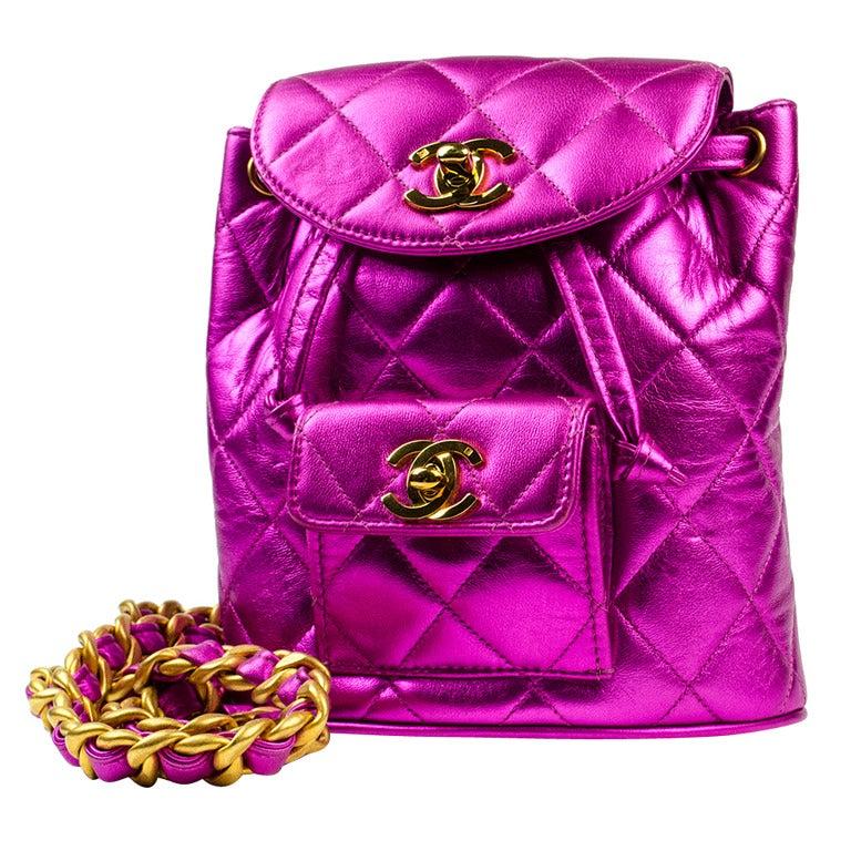 chanel hot pink mini backpack bag at 1stdibs