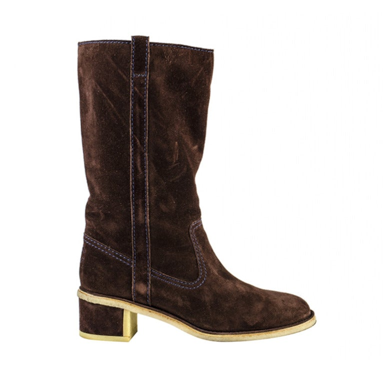 chanel brown suede boots at 1stdibs