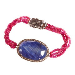Jade Jagger Oval Blue Sapphire Ruby Bead and Diamond Bracelet