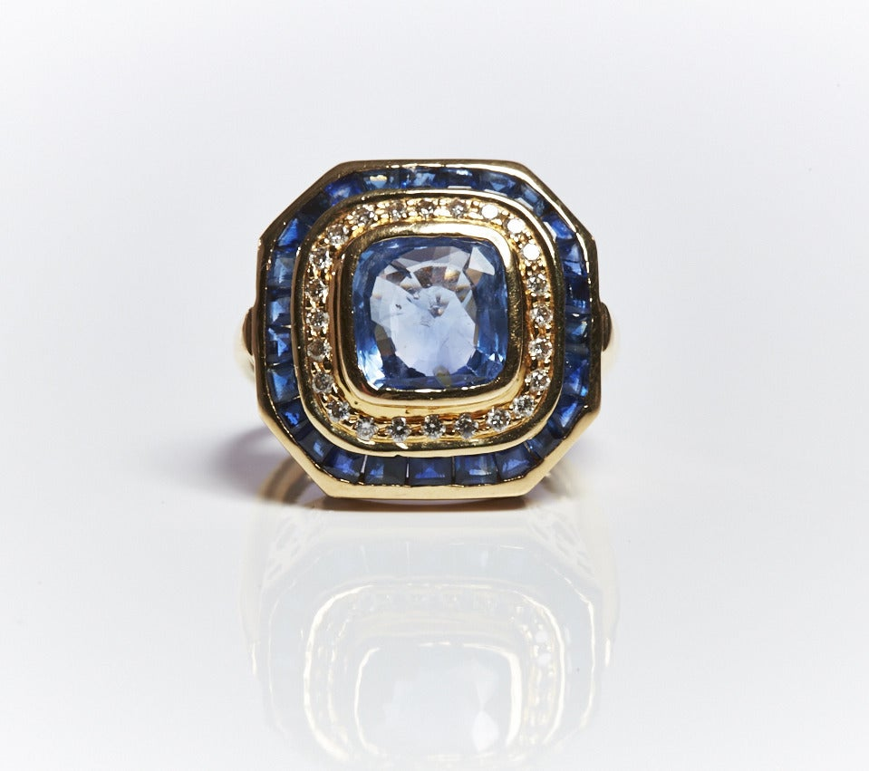 Jade Jagger Sapphire and Diamond Gold Basket Ring (Size 6) 2