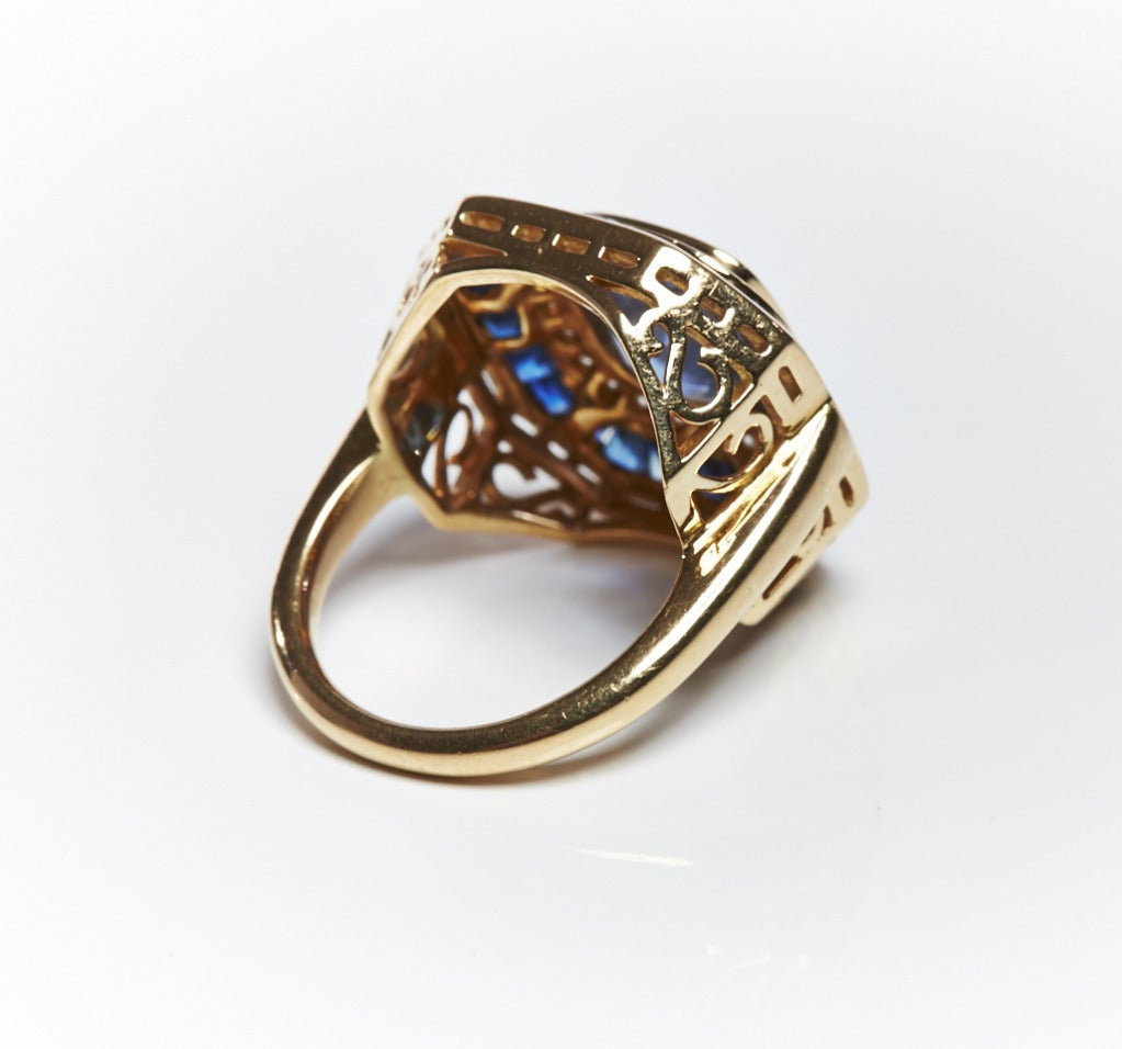 Jade Jagger Sapphire and Diamond Gold Basket Ring (Size 6) 3