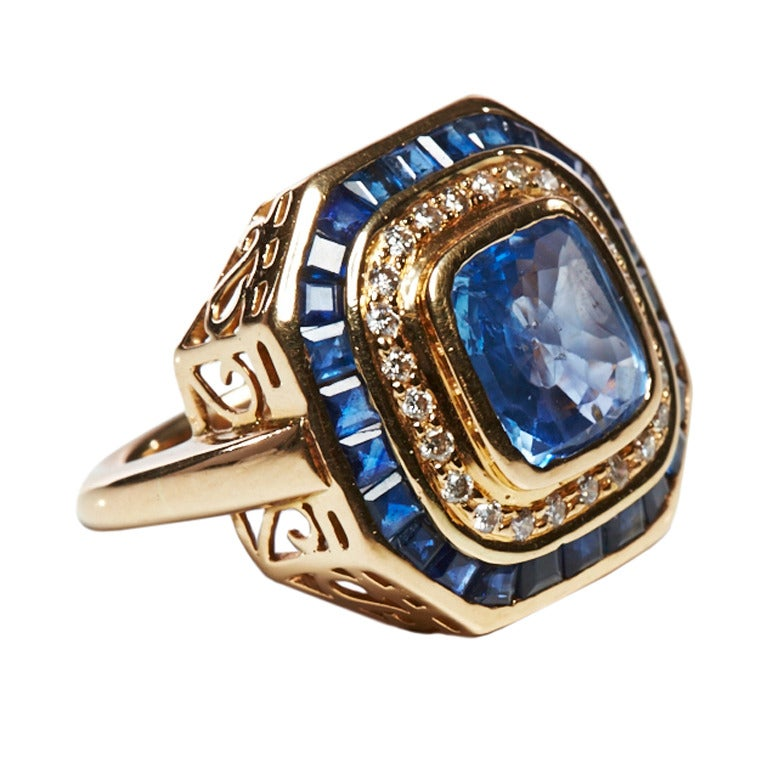 Jade Jagger Sapphire and Diamond Gold Basket Ring (Size 6) 1