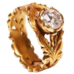 Jade Jagger Diamond Gold Leaf Ring with Ruby Detail