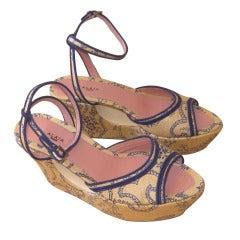 Azzedine Alaia Size 37 1/2 Patterned Platform Sandals