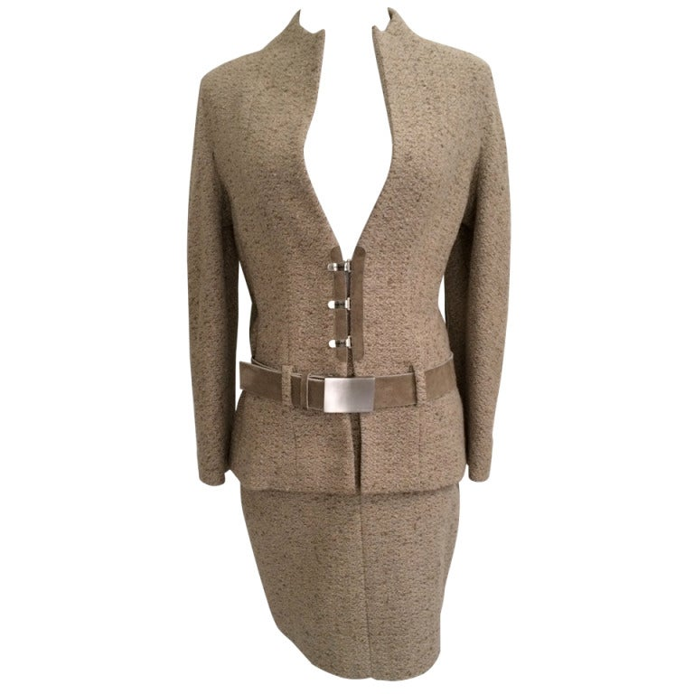 Chanel Belted Skirt Suit in Rich Wheat Camel Tweed 1